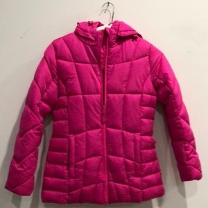 Women's Pink Bubble Jacket with removable Hoodie